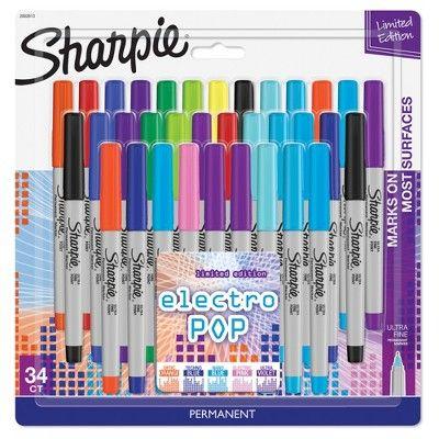 Sharpie Permanent Markers, 34ct ElectroPop - Multicolor