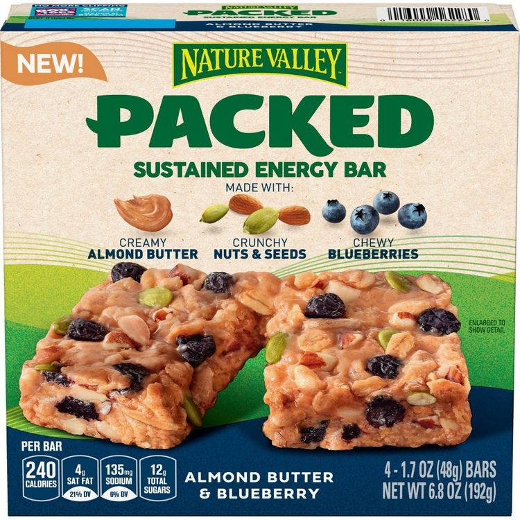 Nature Valley Packed Sustained Energy Bar Almond Butter Blueberry - 6.8oz