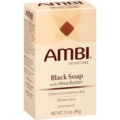 AMBI Skincare Black Soap with Shea Butter And Vitamin E Facial Cleanser - 3.5oz