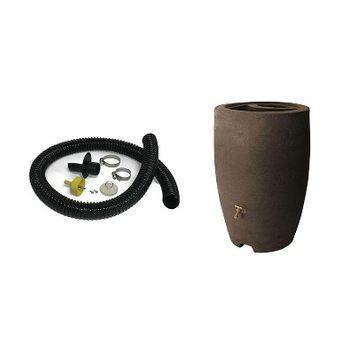 Algreen Gutter Downspout Diverter Kit + 50-Gallon Rain Water Collection Barrel