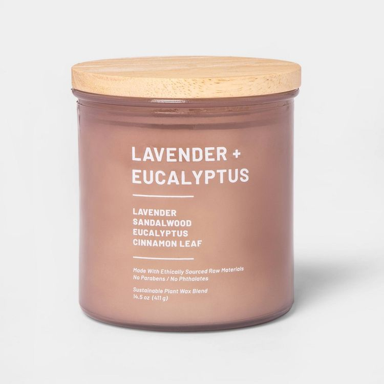 14.5oz Lidded Glass Jar 3-Wick Wellness Candle Lavender & Eucalyptus - Project 62