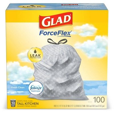 Glad OdorShield Tall Kitchen Drawstring Trash Bags - Febreze Fresh Clean  - 13 Gallon