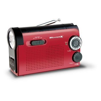 WeatherX AM/FM/WB with Flashlight & Phone Charger Radio - Red (WR182R)