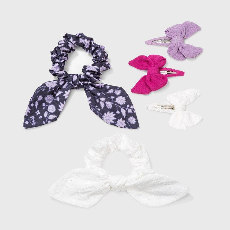 Girls' 5pk Tail Twister and Bow Hair Clip - Cat & Jack