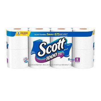 Scott 1000 Septic Safe Toilet Paper - 8 Rolls