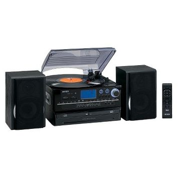 Jensen 3-Speed Turntable with 2 CD Player/Record, AM/FM Stereo Radio, Cassette and Remote - Black