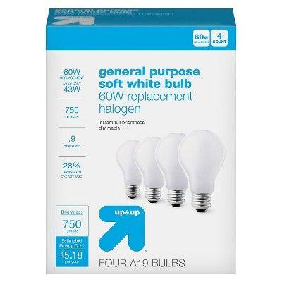 Up & Up Light Bulb Halogen General Purpose Soft White 4PK 60W - Up&Up