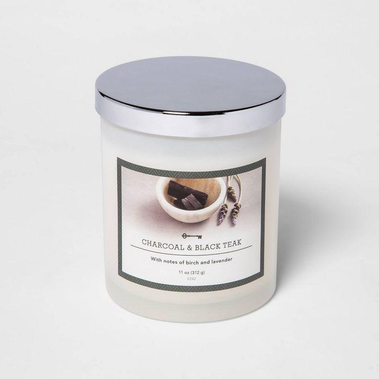 11oz Lidded Milky Glass Jar Charcoal and Black Teak Candle - Threshold
