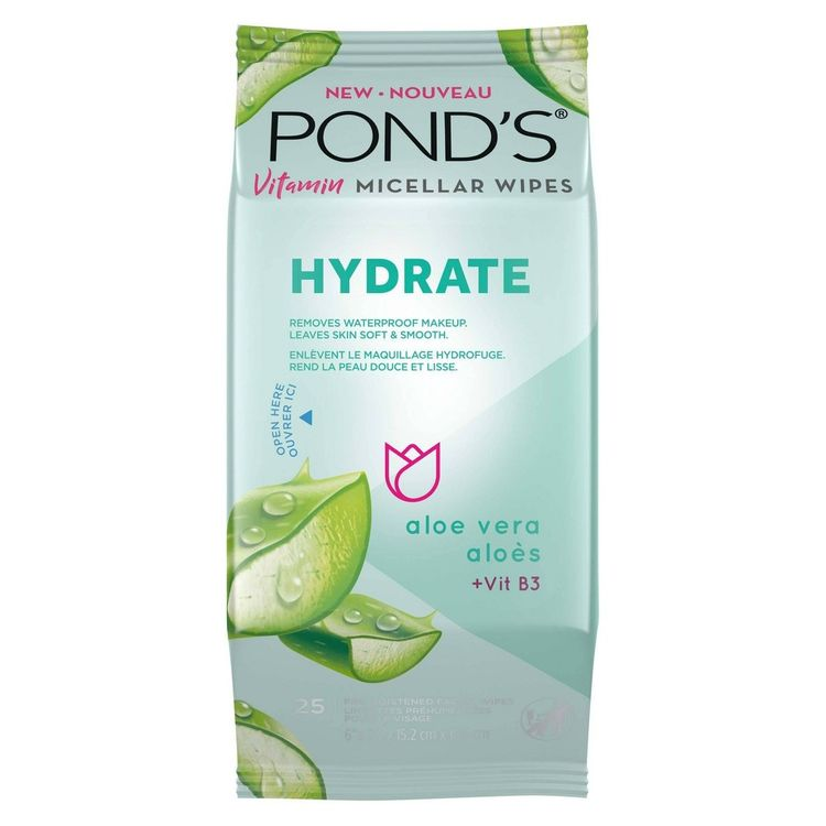 Pond's Vitamin Micellar Hydrate Facial Wipes - Vit B3 - Aloe Vera - 25ct