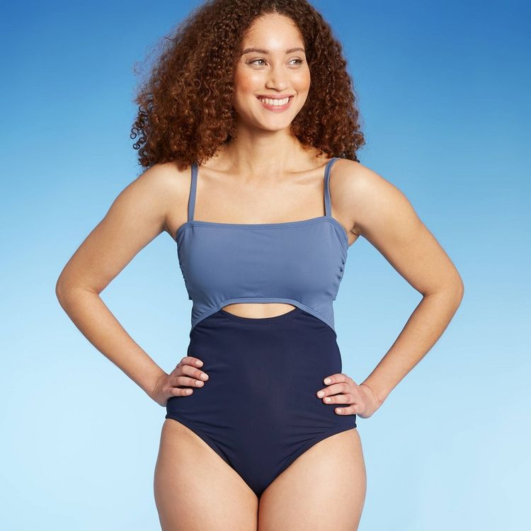 Women's Colorblock Medium Coverage One Piece Swimsuit - Kona Sol Navy XL, Blue