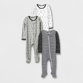 Baby 3pk Long Sleeve Pajama - Cloud Island™ Black/White/Gray 0-3M