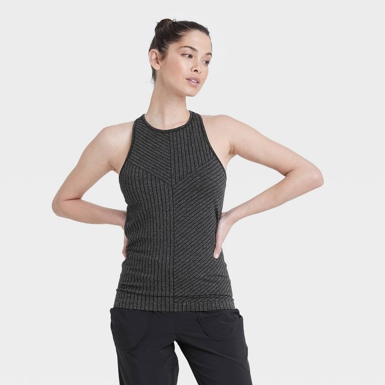Women's Seamless High Neck Tank Top with Shelf Bra - All in Motion Black M
