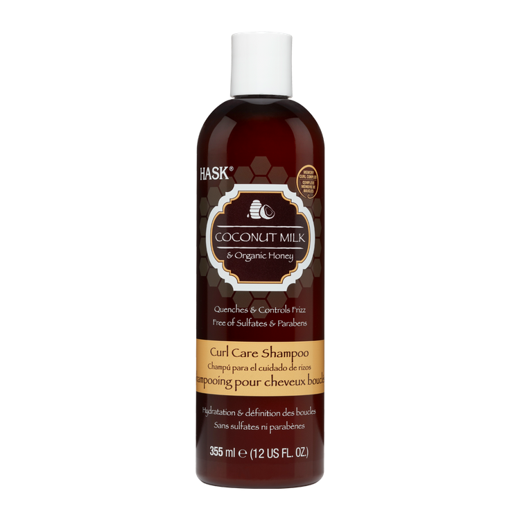 HASK Curl Care Shampoo Sulfate Free Coconut Milk and Organic Honey with Memory Curl Complex Curl Enhancer, 12 fl oz