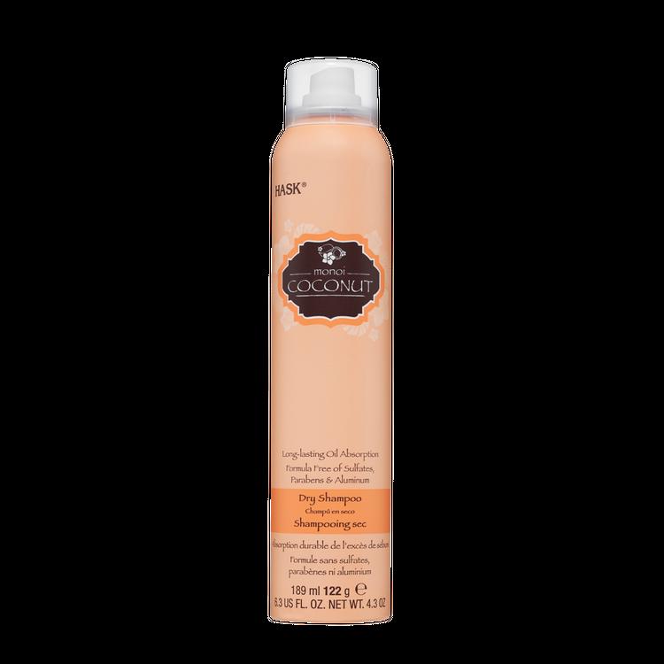 HASK Nourishing Dry Shampoo Sulfate Free Monoi Coconut and rich, coconut gourmand scent, 6.3 fl oz NET WT 4.3 oz