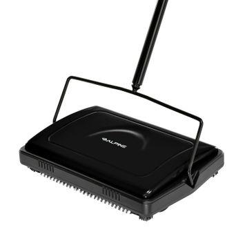 Manual Triple Brush Floor and Carpet Sweeper in Black