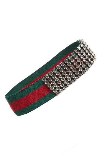 Gucci CrystalEmbellished Web Headband