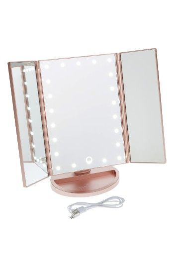 Impressions Vanity Co. Touch 3.0 Led Trifold Makeup Mirror, Size One Size - Rose Gold