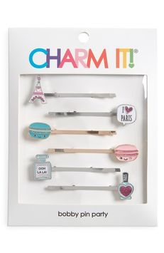 High Intencity Charm It! Party 6-Pack Parisian Bobby Pins, Size One Size - White