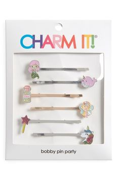 High Intencity Charm It! Party 6-Pack Magical Bobby Pins, Size One Size - White