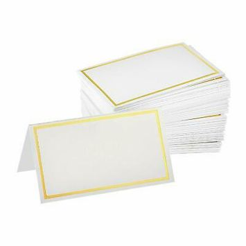 2 in. x 3.5 in. Blank Table Place Cards with Gold Border (100-Pack)