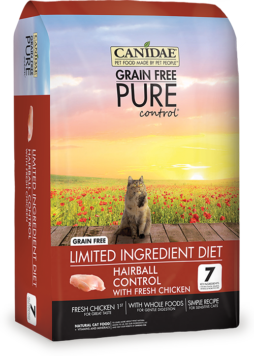 CANIDAE Grain Free PURE Control Hairball Control Cat Formula Made With Fresh Chicken, 2.5 lbs.