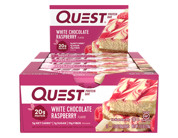 Quest Protein Bars - White Chocolate Raspberry - 12 Count