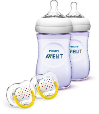 Philips Avent Natural Baby Bottle Purple Gift Set SCD693/23 Feeding Bottles, Pacifiers 9oz/260ml Slow Flow Nipple Natural Nipple Shape