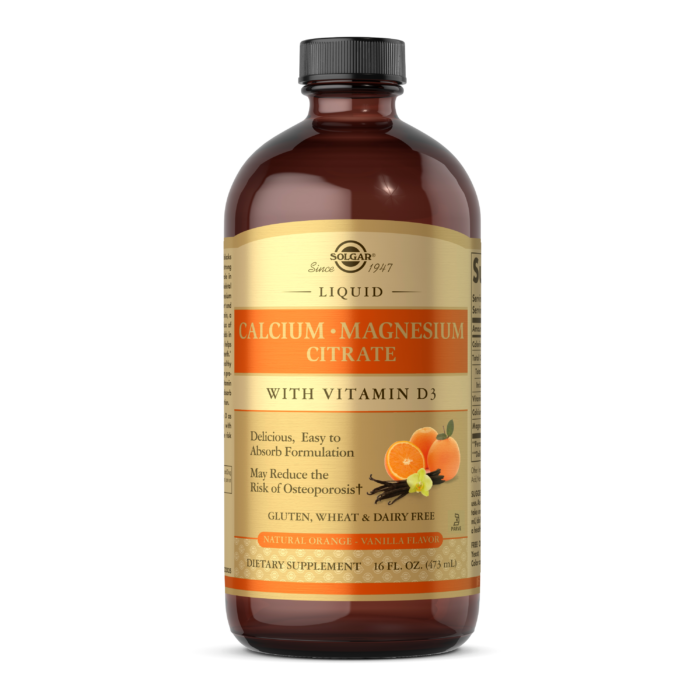 Solgar Liquid Calcium Magnesium Citrate with Vitamin D3 – Natural Orange-Vanilla Flavor