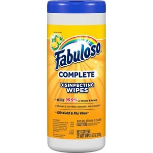 Colgate Palmolive CPC06491 Lemon Scent Fabuloso Disinfecting Wipe - Pack of 35