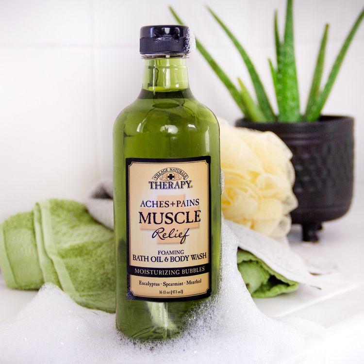 Muscle Relief Foaming Bath Oil & Body Wash 16 oz
