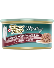 Fancy Feast® Shredded Wild Salmon Fare Wet Cat Food with Garden Greens in a Savory Broth