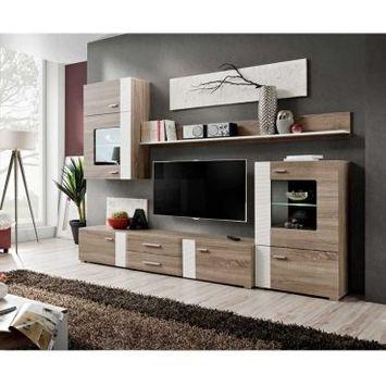 Ensemble mural - aleppo - 1 meuble tv - 1 armoire - 1 vitrine - 2 étagères - chêne - led
