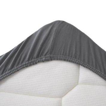 Snoozing drap-housse surmatelas en flanelle - flanelle 100% coton gratté - grande taille (160x210/220 cm) - gris