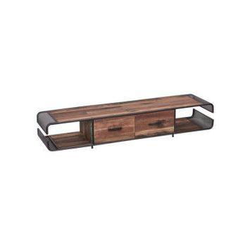 Meuble tv en fer/bois 2 tiroirs - seattle n°1 - l 200 x l 50 x h 37 - neuf