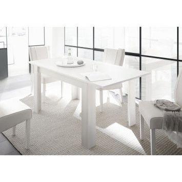 Bobochic table extensible 6-8 personnes avec allonge incluse monno blanc mat laqué l137/185