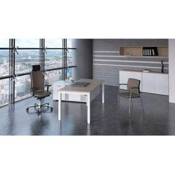Acacia foncé  180 x 80 cm piétement blanc  bureau droit individuel contemporain rythmo