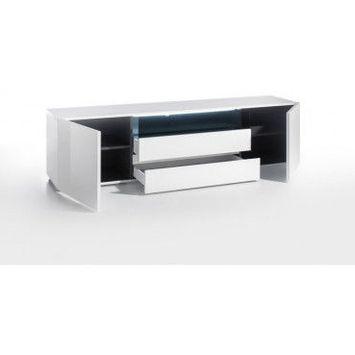 203 cm   meuble tv moderne laqué blanc hortense