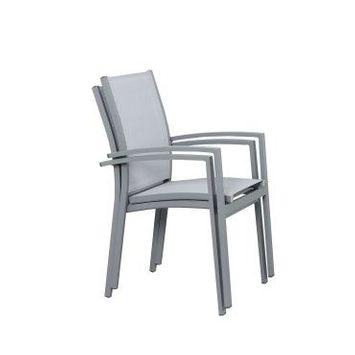 Table de jardin extensible aluminium 135/270cm + 8 fauteuils empilables textilène gris - andra