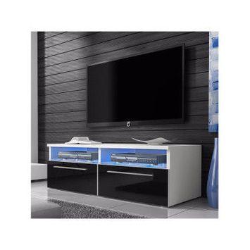 Meuble tv siena avec led - 100 cm - blanc mat / noir brillant