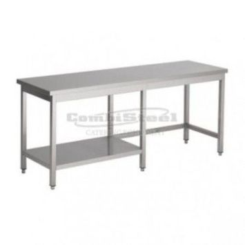 Table inox avec 1/2 etagère - gamme 700 - combisteel -     inox           2700x700             700