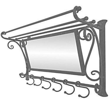 Porte manteau miroir étagère mural en fer 60 cm gris patinée
