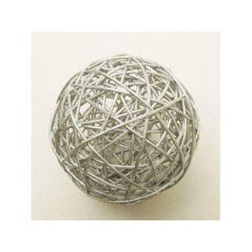 Lot de 2 boules décor en osier coloris argent - diam : 6 cm