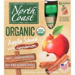 North Coast 281810 4 Poches Cinnamon Organic Apple Sauce