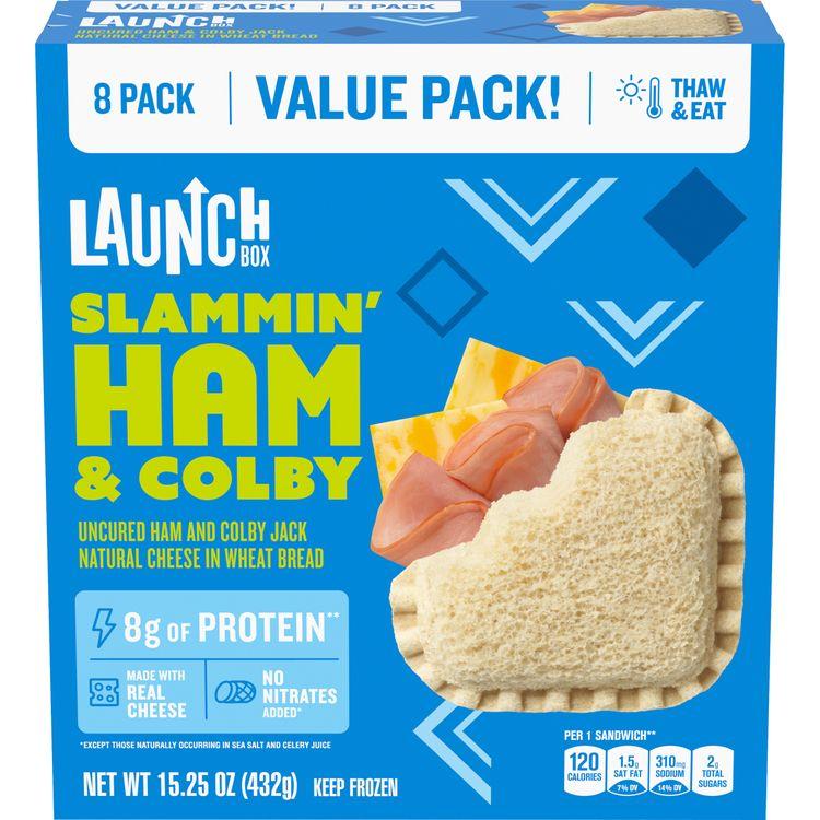 LaunchBox Slammin' Ham & Colby Jack Frozen Sandwiches, (8 ct. Box)