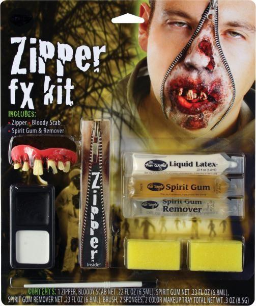 Zipper Character Zombie Makeup Kit Adult Halloween Accessory