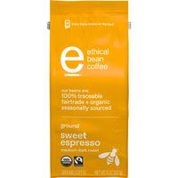 Ethical Bean Fairtrade Organic Coffee, Sweet Espresso Medium Dark Roast, Ground Espresso Coffee, 8 oz. Bag
