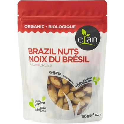 Elan Organic Raw Brazil Nuts, 185g/6.5oz., {imported From Canada}
