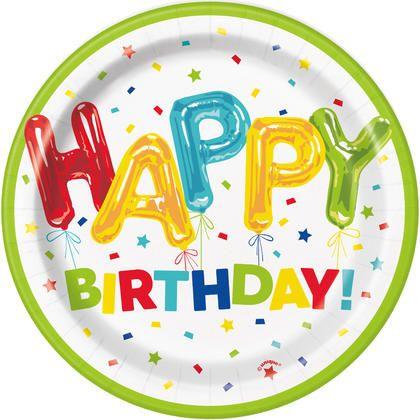 "Happy Balloon Birthday Round 7"" Dessert Plates, 8ct Pour la fête d'anniversaire"