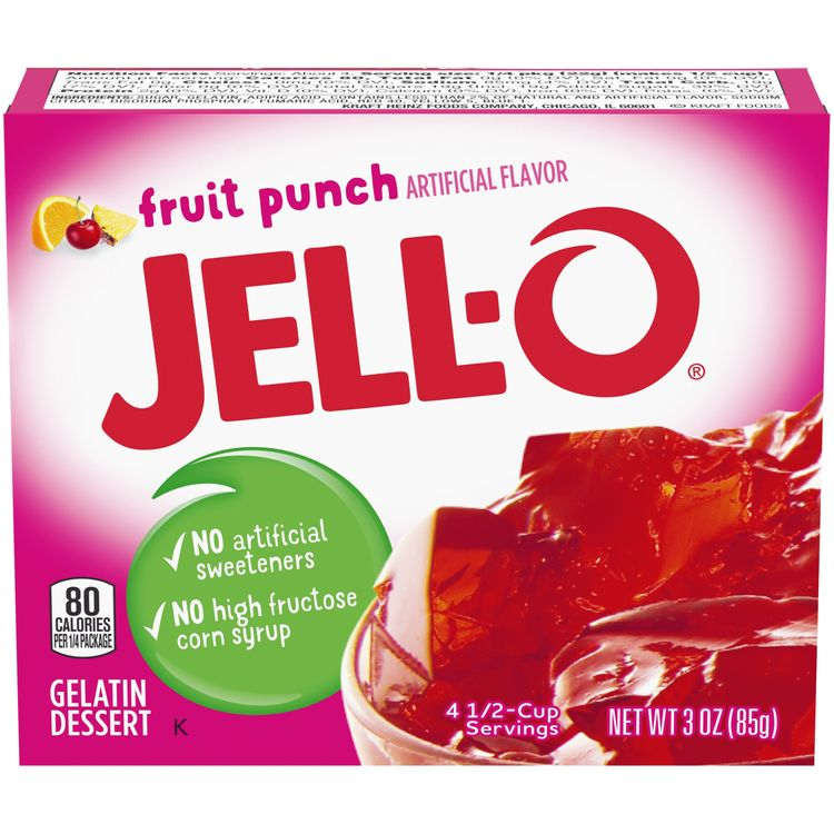 Jell-O Fruit Punch Instant Gelatin Mix, 3 oz Box