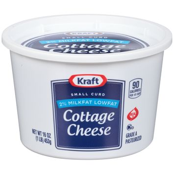 Kraft Small Curd 2% Milkfat Low fat Cottage Cheese 16 oz Tub